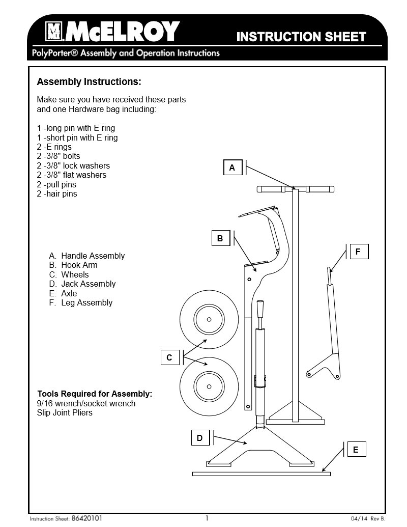 Mcelroy Polyporter Back Cabinet Diagram And Parts List For Porter Cable Generatorparts Product Manual